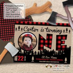 Lumberjack First Birthday Party Photo Printable Invitation - Printable DIY Invitation - Personalized Invite card DIY party printables will save you time and money while making your planning a snap! Photo Invitations, Printable Birthday Invitations, Party Printables, Invites, Baby First Birthday, First Birthday Parties, First Birthdays, Birthday Ideas, Birthday Bash