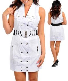 White Mini Shirt Style Belted Buttons and Snaps Dress 2X - 16P FREE SHIPPING