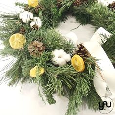 Coronita CRACIUN portocale flori de bumbac si conuri - C130 – YaU concept Christmas Wreaths, Christmas Decorations, Holiday Decor, Modern Christmas, Ornaments, Green, Design, Home Decor, Corona