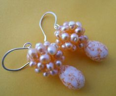Peachy Earrings with SilverBridesmaids or Mother of by JoJosgems, $18.00
