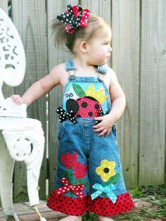 Toddler Clothes Diy, Toddler Outfits, Diy Clothes, Toddler Fashion, Kids Fashion, Little Girl Dresses, Girls Dresses, Kids Overalls, Embellished Jeans
