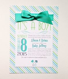 5x7 Boy Themed Baby Shower Invitations. Includes envelopes of coordinating color scheme.   Click to see more!