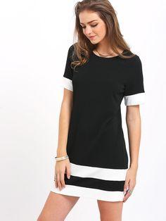 robe manche courte -bicolore -French SheIn(Sheinside)