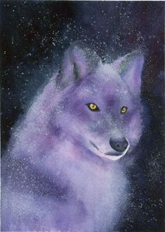 """Wolf Art - """"Violette"""" - Watercolor Painting by Lorraine Skala - Please visit my Etsy Shop to purchase notecards or prints"""