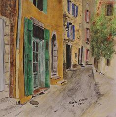 French town Art Original Watercolor Rosie by WATERcolorARTbyROSIE