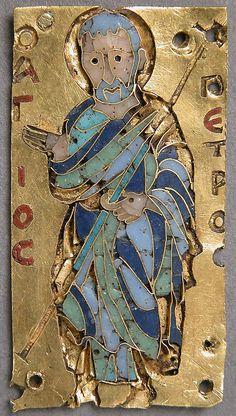 Plaque with Saint Peter, 11th century, Byzantine; Cloisonné enamel, gold (3.5x1.8 cm)   Metropolitan Museum of Art