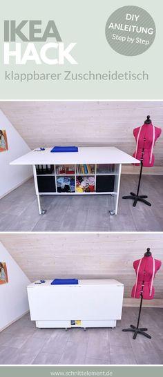 Folding trimming table for your sewing room, DIY instructions DIY IKEA HACK, do you always have spac Diy Hanging Shelves, Floating Shelves Diy, New Swedish Design, Pot Mason Diy, Table Ikea, Diy Home Decor Projects, Sewing Projects, Sewing Tips, Sewing Tutorials