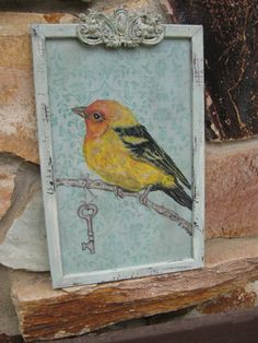 Vintage Bird Print Bird Art Colorful Yellow by AKAdecorativeart, $50.00