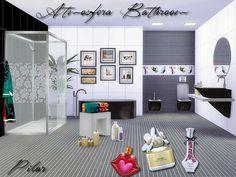 Un baño en dos colores, decorativos en alegres colores y mamparas decoradas para crear diferentes ambientes. Disponible en Thesimsresource: http://www.thesimsresource.com/downloads/1289835