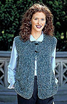 Garter Yoke Vest pattern by Lion Brand Yarn - Knitting patterns, knitting designs, knitting for beginners. Crochet Vest Pattern, Loom Knitting Patterns, Crochet Shawl, Knitting Designs, Knitting Yarn, Free Knitting, Knit Crochet, Crochet Vests, Free Pattern