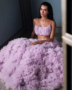 Love this Lilac ruffles cocktail lehenga. Indian Bridal Outfits, Indian Party Wear, Indian Designer Outfits, Indian Designers, Indian Attire, Indian Ethnic Wear, Lehenga Choli, Anarkali, Sari