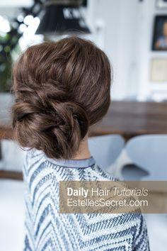 Low Bun - Easy Updo Hairstyles for Long Hair. Watch the full tutorial on our hair blog >> EstellesSecret.com #lowbun #braidedbun #easyupdo #updohairstyle