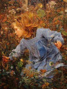 Jules Bastien-Lepage, Woodgatherer c1881. His detail and color is genius.