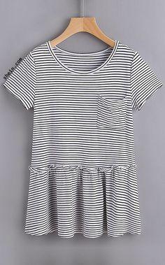 Striped Pocket Front Ruffle Hem Tee