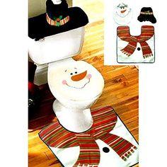 Jastore ®schwarz Schneemann dekoration Weihnachtsdeko WC Toillete Set Sitzbezug & Teppich & Gewebe Deckel Geschenk, http://www.amazon.de/dp/B015MJ59AY/ref=cm_sw_r_pi_awdl_xs_RleoybM6ZPXV9
