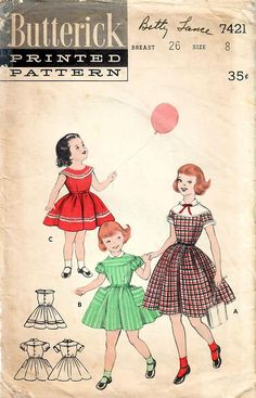 1950s Butterick 7421 Vintage Sewing Pattern Girl's Full
