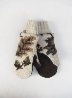 Wool Sweater Mittens Fleece Cream Grey Green and by jmariecreates