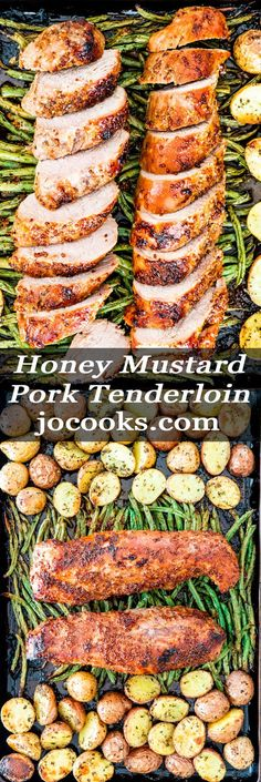 Honey Mustard Pork Tenderloin - - Honey Mustard Pork Tenderloin Entree This Honey Mustard Pork Tenderloin is baked to perfection with green beans, potatoes, and ready in only 35 minutes. This recipe is a must for your busy weeknights! Sausage Recipes, Pork Recipes, Cooking Recipes, Healthy Recipes, Healthy Pork Tenderloin Recipes, Pan Cooking, Cooking Light, Baked Pork Loin, Baked Tenderloin