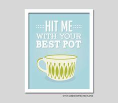 Coffee art pyrex coffee mug coffee print kitchen art by EatSayLove, $18.00
