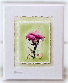 "By Birgit Edblom. Stamp is ""Thistle"" (Serendipity Stamps). I like the layout. She used two deckled rectangle dies."