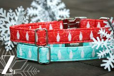 Some of the best dog collars found on Etsy! We just love these penguins! Winter Red Dog Collar Snowflakes Penguins Red by ZaleyDesigns