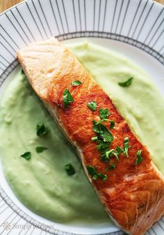 Pan Seared Salmon wi Pan Seared Salmon with Avocado Remoulade by simplyrecipes: Pan seared salmon with a creamy avocado remoulade sauce avocados puréed with lime juice olive oil shallots parsley and Dijon. Fish Dishes, Seafood Dishes, Fish And Seafood, Fish Recipes, Seafood Recipes, Cooking Recipes, Healthy Recipes, Sauce Recipes, A Food