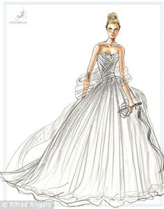 Disney and bridal gown designer Alfred Angelo launch Princess-inspired wedding dress collection. The sketch for the Cinderella dress.