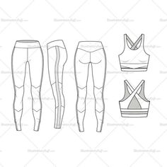 Fashion Flat Vector Template yoga set include bra and leggings