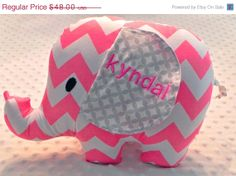 Zulily Sale Baby Girl Bright Bubble Gum Pink and Gray Chevron Stuffed Elephant