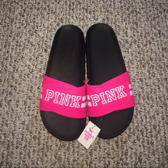 NWT VICTORIA'S SECRET PINK SLIDES Victoria's Secret sandals! Easy to slip on, comfy, and spells out PINK as you walk ;) PINK Victoria's Secret Shoes Sandals
