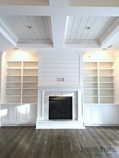 Fireplace Inspiration...Shiplap above, shaker doors on bookcase with 3 or 4 big shelves with no center divide.  See other picture for wrap mantel idea.