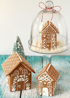 Snow Globe Gingerbread Houses - This is what we need to do at our house so the cat can't eat them anymore