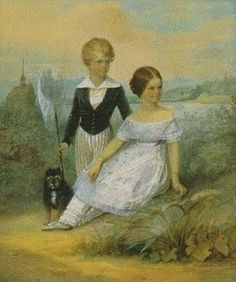 """Elisabeth at 11 years, her brother Karl Theodor, Duke in Bavaria, and their dog """"Bummerl"""" at Possenhofen Castle"""