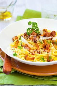 Photo de la recette Pâtes aux girolles et au parmesan