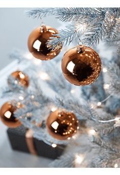 Six Glass Baubles - Copper - Christmas