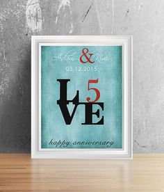 Shiny Foil Print 5 Year Anniversary For Him Her By Plusoneprints 5th Wedding Gifts