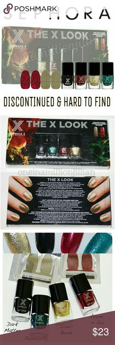 🎁 Sephora The X Look Nail Polish Set DISCONTINUED & NO LONGER SOLD  New in Box (Swatches from Google)  The perfect accessory for your ensemble, this set of four mini nail lacquers & two sets of ASAP accent nail appliqués accentuate your nails with glossy black or sparkling glitter- you'll standout at all the season's holiday parties.  Includes: ☆ Dark Matter (patent leather black) ☆ Iconic Bond (champagne microglitter) ☆ Atom + Eve (ruby red glitter) ☆ Mr Positivity (emerald green…