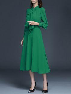 Green Casual A-line Plain Midi Dress
