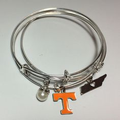 Tennessee Volunteers: Set of three. $32.00 Alex and ani inspired.www.Scrabblechick.etsy.com