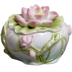 Lotus Flower Porcelain Trinket Box $30.00