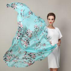 Cachecol марка синий шелковый шарф отпечатано 2015 новый супер большой чистого шелка длинные шарфы платок дамы зимой…