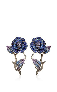 18K Yellow Gold To Cassandra Earrings With Fancy Sapphires by LYDIA COURTEILLE for Preorder on Moda Operandi