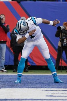 """Cam Newton and his stupid dab. I hope when his bust goes in the Hall of Fame they throw a towel over his head, just like he does on the sideline"" - that pinner was BIG mad 😂😂 Football Memes, American Football, College Football, Football Players, Football Team, Football Things, Giants Football, Carolina Panthers Football, Panther Football"
