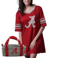 Alabama Crimson Tide Women's Nightgown & Mini Duffel Bag - Crimson