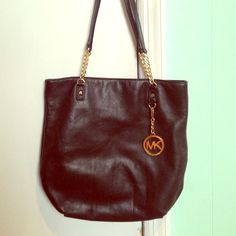 Authentic Black Leather Mk Bag