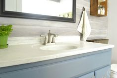 It's easy to create a DIY marble countertop with concrete and a special finish.