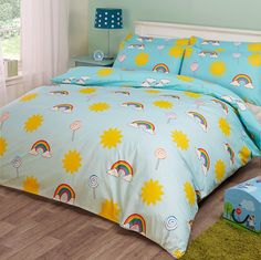 Novelux Bedding Sunshine Lollipops Rainbow Kids Duvet Cover Set Novelty Blue 100% Cotton, 200 Thread Count, Single Double King Cot (King (Duvet Cover + 2 Pillowcases)): Amazon.co.uk: Kitchen & Home