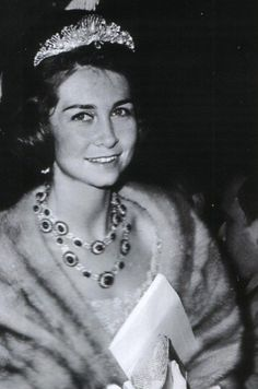 a young Sofia in the Shell tiara, along with the Niarchos rubies given as a wedding present