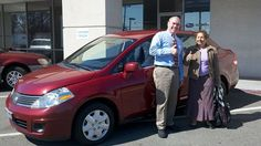Folger Subaru Internet Sales Consultant Jim Gamble with Mrs. Cabral and her 2009 Nissan Versa sedan!