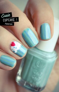 Essie manicure with cupcake nail art Love Nails, How To Do Nails, Fun Nails, Pretty Nails, Teal Nails, Gorgeous Nails, Black Nails, Essie, Nail Art Cupcake